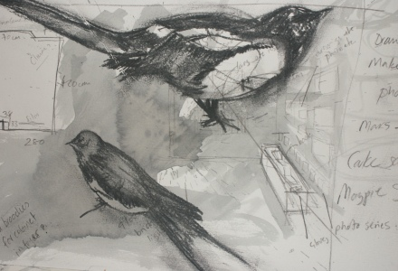 paper, drawing, birds